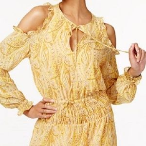 Yellow Paisley Print XL Dress A Line Cold Shoulder